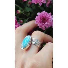 Sterling silver ring with natural Larimar Summer Fairie