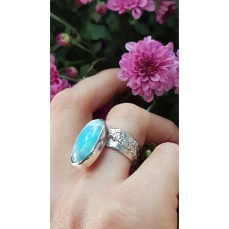 Sterling silver ring with natural Larimar Summer Fairie, Bijuterii de argint lucrate manual, handmade