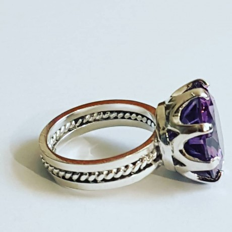 Silver Ag925 Ag Massive Engagement Ring with Asian Amethyst Love Feast, Bijuterii de argint lucrate manual, handmade