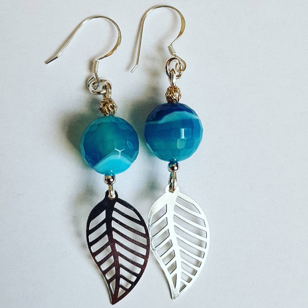Sterling silver earrings with natural agate stones Leafy Haze