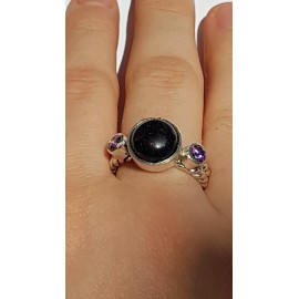 Sterling silver ring with natural amethyst and black goldstone Peaky Picky, Bijuterii de argint lucrate manual, handmade