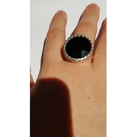 Sterling silver ring with natural onyx stone Black Shadows