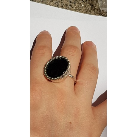 Sterling silver ring with natural onyx stone Black Shadows, Bijuterii de argint lucrate manual, handmade