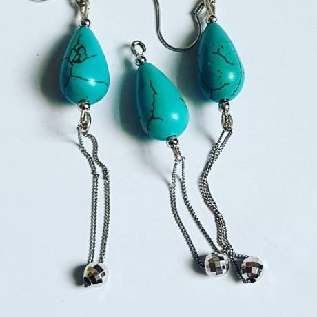 Sterling silver earrings Turqoise Bites, Bijuterii de argint lucrate manual, handmade