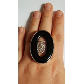Sterling silver ring with natural agate stone Summer Cheekies