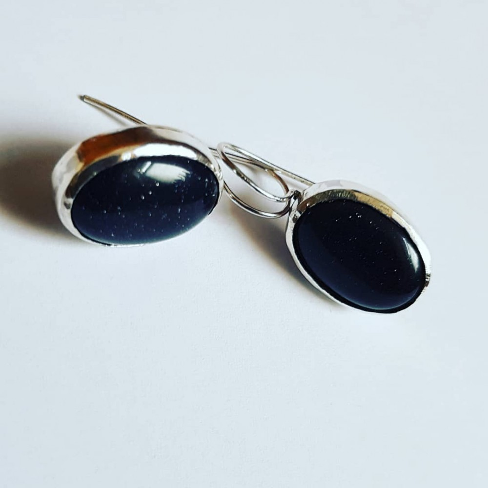 Silver Ag925 earrings with black Summer Warmth stone