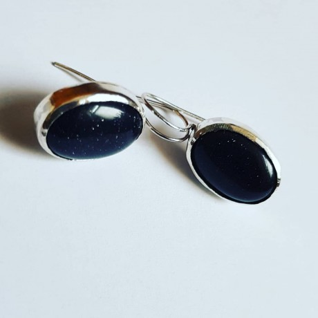 Silver Ag925 earrings with black Summer Warmth stone, Bijuterii de argint lucrate manual, handmade