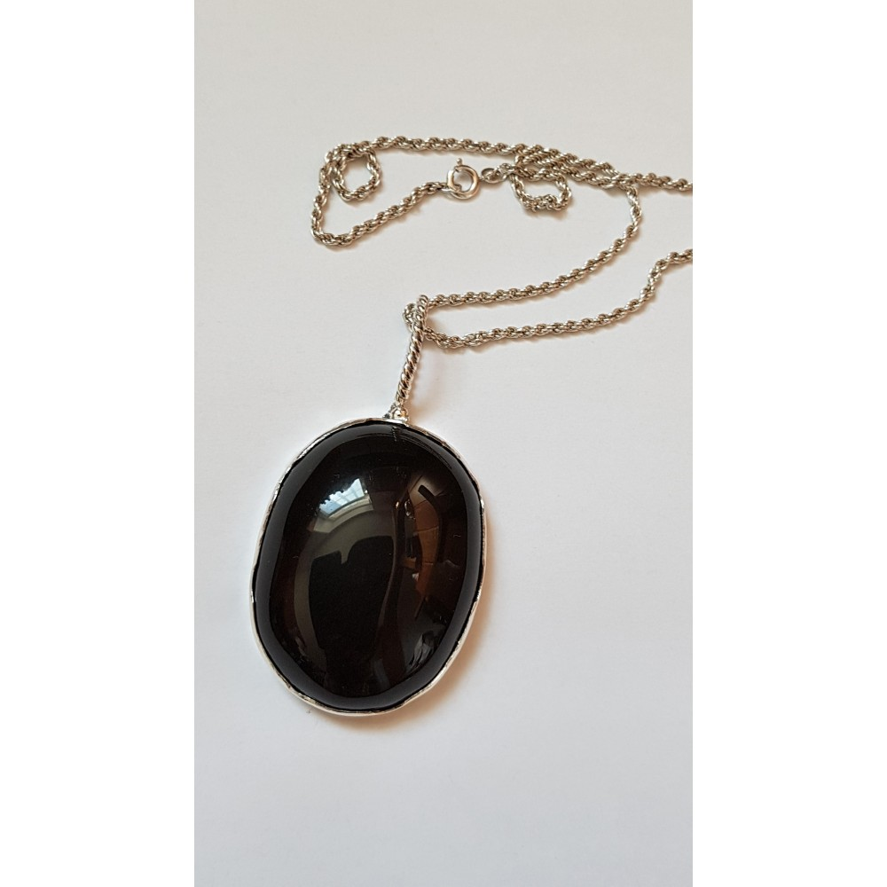 Large Sterling Silver pendant with natural Obsidian stone Obsidian Headed