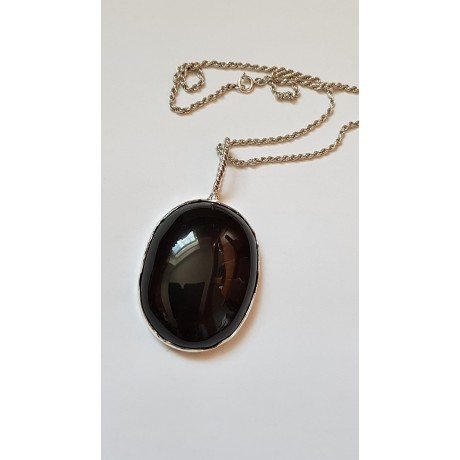 Large Sterling Silver pendant with natural Obsidian stone Obsidian Headed, Bijuterii de argint lucrate manual, handmade