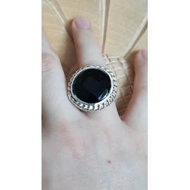 Sterling silver ring with natural onyx stone Black Fires