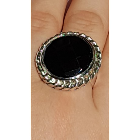 Sterling silver ring with natural onyx stone Black Fires, Bijuterii de argint lucrate manual, handmade