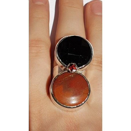 Sterling silver ring with natural onyx and jasper stones Emulation, Bijuterii de argint lucrate manual, handmade
