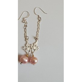 Sterling silver earrings with pink pearls Rosy Sways
