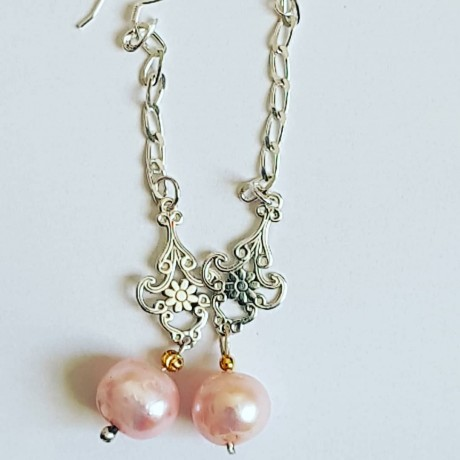 Sterling silver earrings with pink pearls Rosy Sways, Bijuterii de argint lucrate manual, handmade