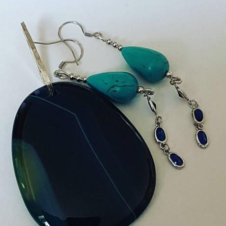 Sterling silver earrings and pendant Summer Tempers, Bijuterii de argint lucrate manual, handmade