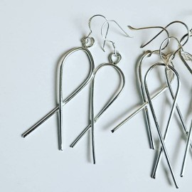 Sterling silver earrings Summer Twists, Bijuterii de argint lucrate manual, handmade