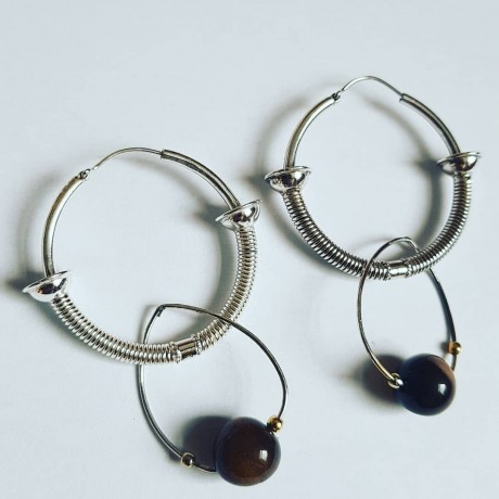 Silver earrings #sterling Ag925 with natural tiger eyes Summer Dice
