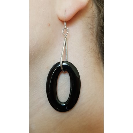 Sterling silver earrings with natural agate stones Intensity, Bijuterii de argint lucrate manual, handmade