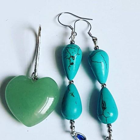 Sterling silver earrings and pendant Summer Thrill, Bijuterii de argint lucrate manual, handmade