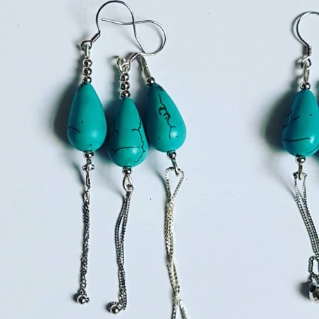 Sterling silver earrings Turqoise Vaunt, Bijuterii de argint lucrate manual, handmade