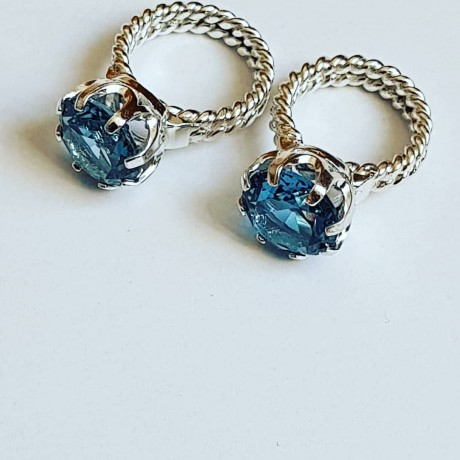 Sterling silver ring with aquamarine stone Ocean Vibe, Bijuterii de argint lucrate manual, handmade