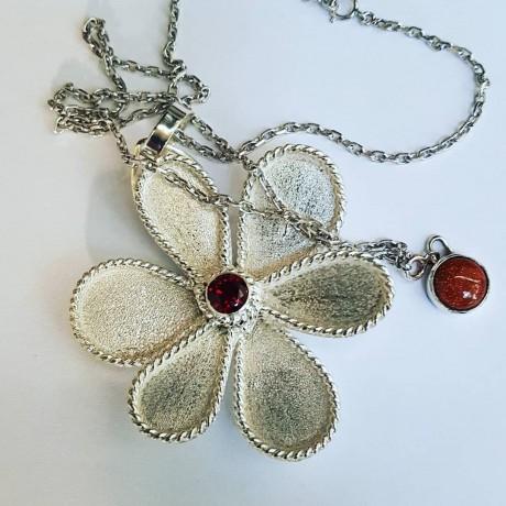 Sterling silver pendant,  necklace Flower Elixir, Bijuterii de argint lucrate manual, handmade