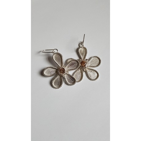 Sterling silver earrings Flower Focus