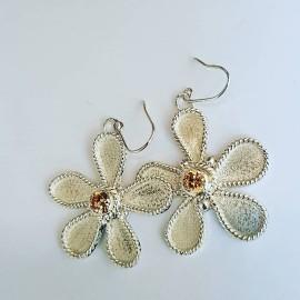 Sterling silver earrings Flower Focus, Bijuterii de argint lucrate manual, handmade