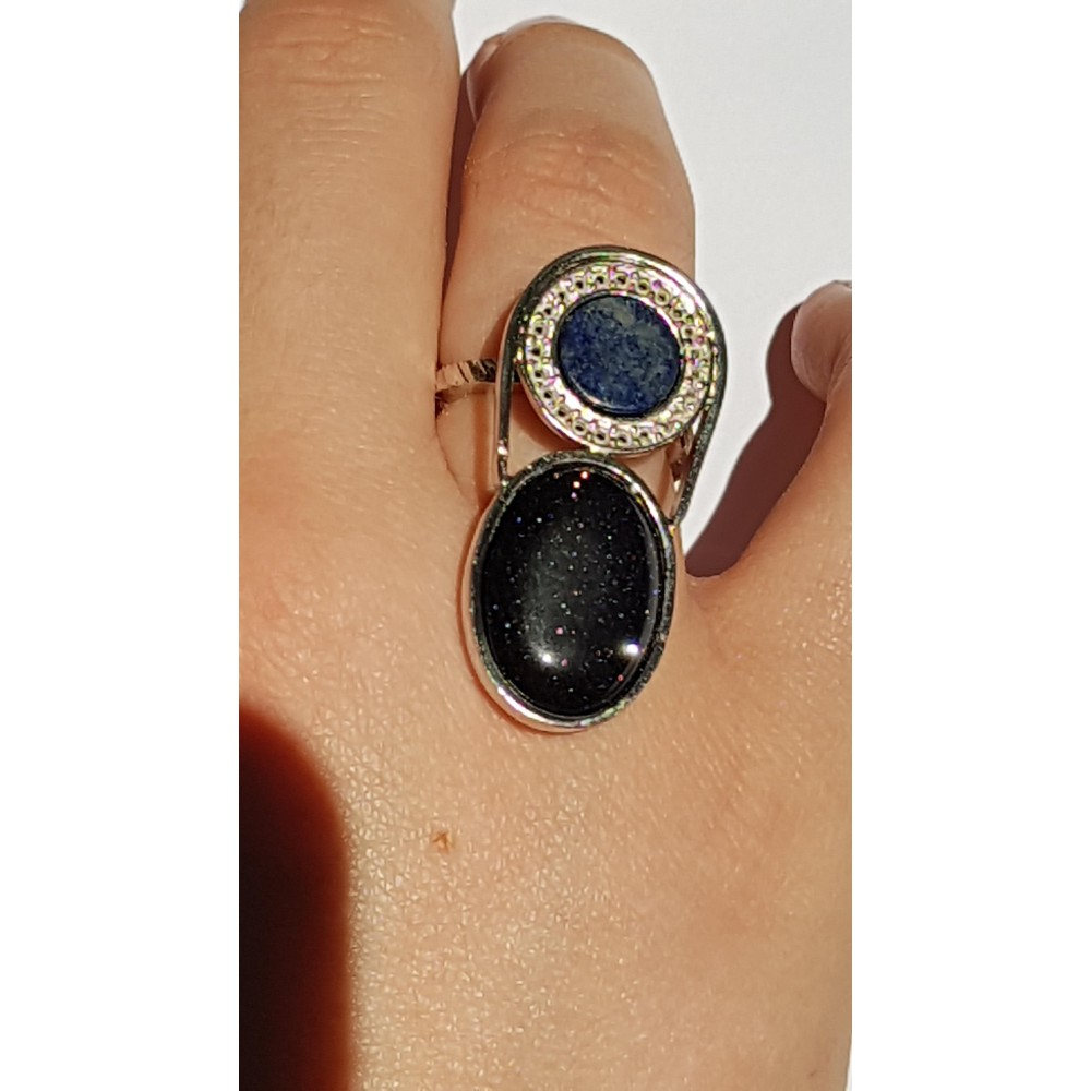 Sterling silver ring with natural lapislazuli and black goldstone Crib
