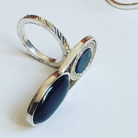 Sterling silver ring with natural lapislazuli and black goldstone Crib, Bijuterii de argint lucrate manual, handmade