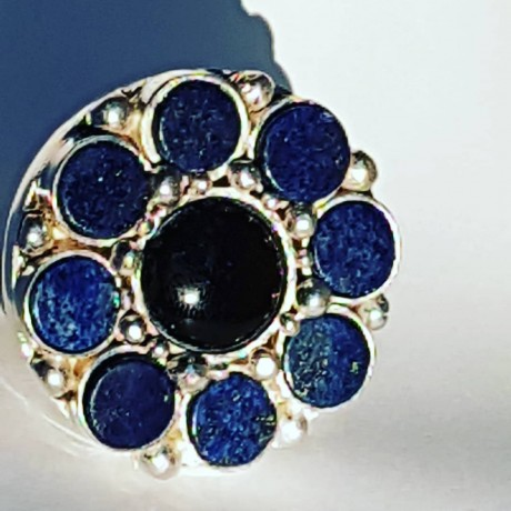 Large Sterling Silver ring with natural onyx stone and lapislazuli Flower Climax, Bijuterii de argint lucrate manual, handmade