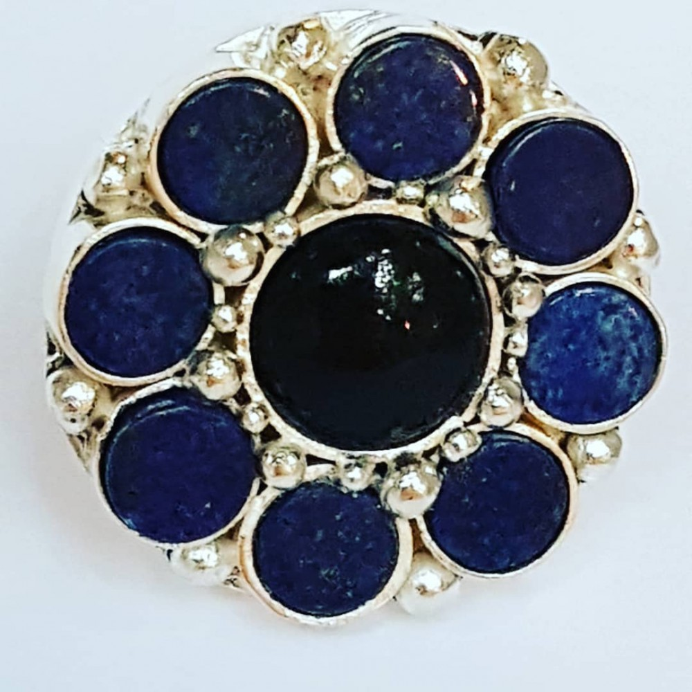 Large Sterling Silver ring with natural onyx stone and lapislazuli Flower Climax