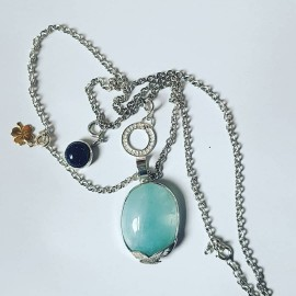 Large Ag925 pendant with natural blue Opal and Opalescence silver accessories