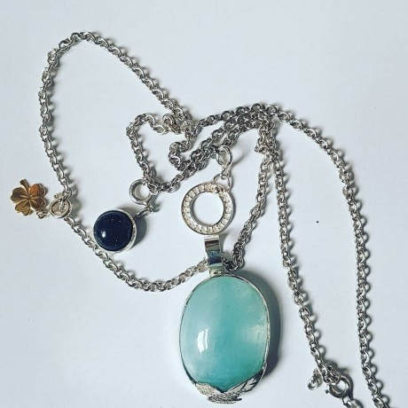 Large Ag925 pendant with natural blue Opal and Opalescence silver accessories, Bijuterii de argint lucrate manual, handmade