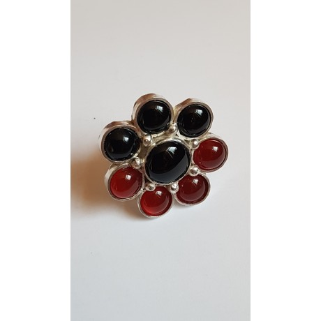 Large Sterling Silver ring with natural onyx stone and carnelian Rouge et Noir Savoir, Bijuterii de argint lucrate manual, handmade