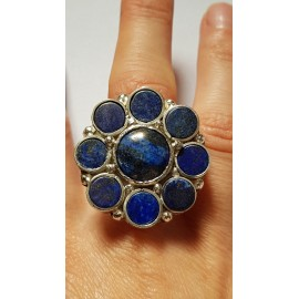 Large Sterling Silver ring with lapislazuli Flower Pledge