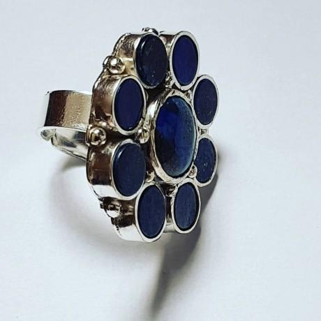 Large Sterling Silver ring with lapislazuli Flower Pledge, Bijuterii de argint lucrate manual, handmade