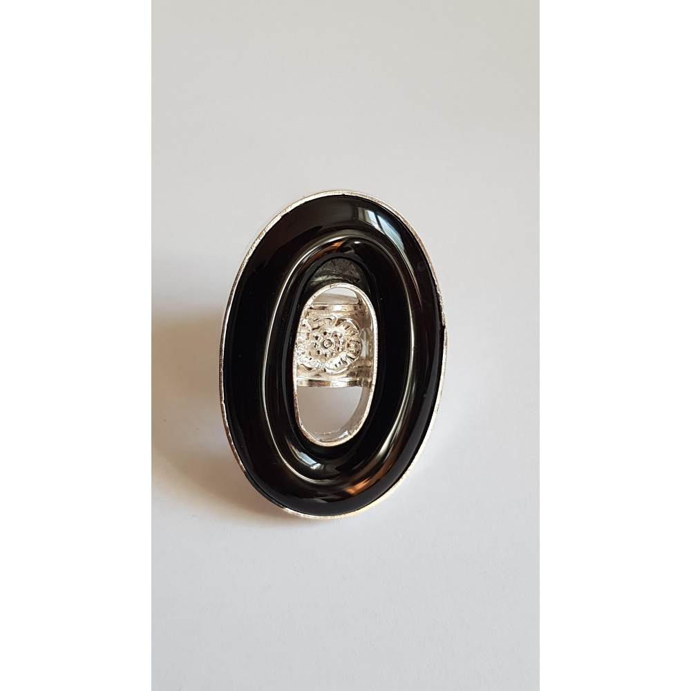 Sterling silver ring with natural agate Blackish Aura