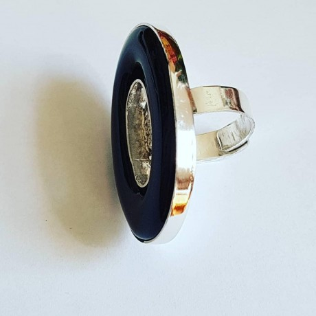 Sterling silver ring with natural agate Blackish Aura, Bijuterii de argint lucrate manual, handmade