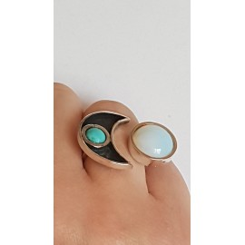 Sterling silver ring with natural turqoise and Opal Fine Flirt