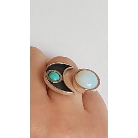 Sterling silver ring with natural turqoise and Opal Fine Flirt, Bijuterii de argint lucrate manual, handmade