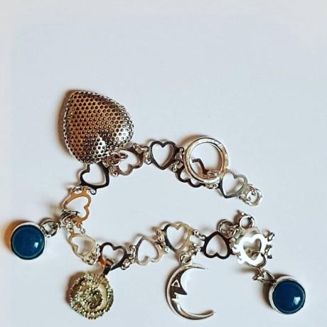 Sterling silver bracelet with natural aquamarine stones Summer Nuggets, Bijuterii de argint lucrate manual, handmade