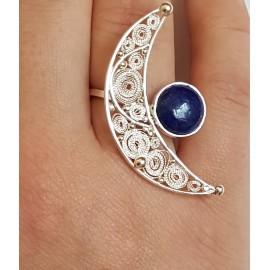 Sterling silver ring,  filigree and natural lapislazuli Baby Moon