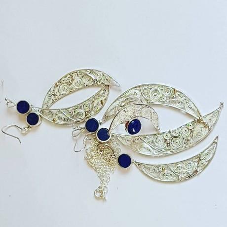 Sterling silver ring,  filigree and natural lapislazuli Baby Moon, Bijuterii de argint lucrate manual, handmade