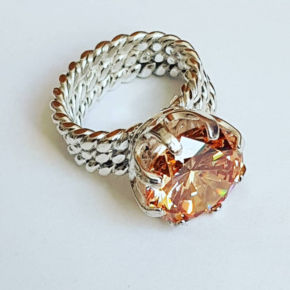 Massive Ag925 engagement ring with Asian citrus Love Tribulations