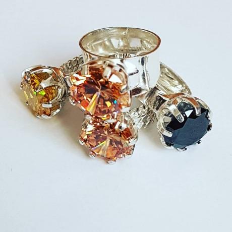 Massive Ag925 engagement ring with Asian citrus Love Tribulations, Bijuterii de argint lucrate manual, handmade