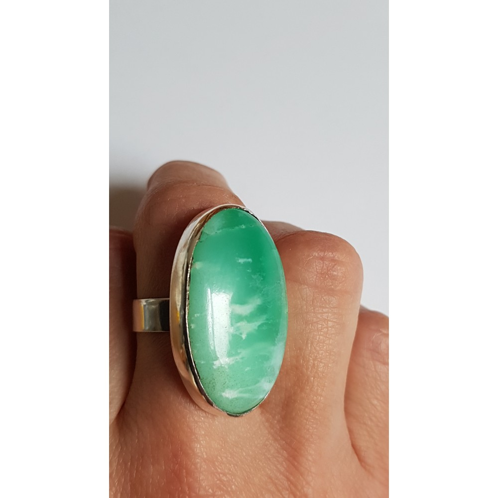 Sterling silver ring with natural crysophrasis Green Candy