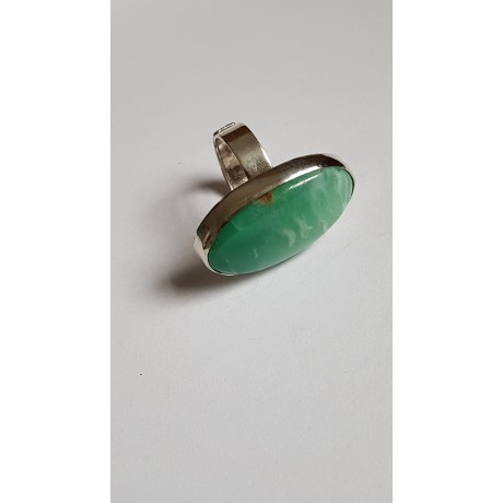 Sterling silver ring with natural crysophrasis Green Candy, Bijuterii de argint lucrate manual, handmade