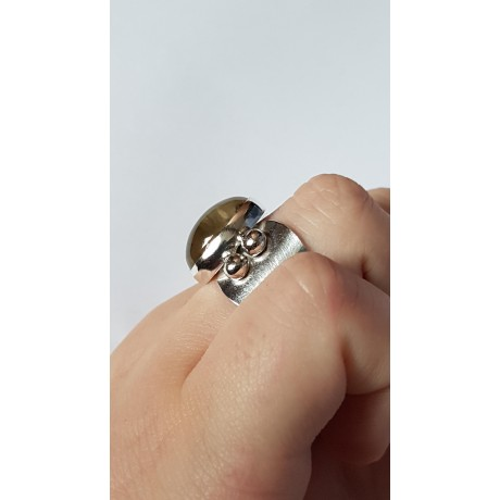 Sterling silver ring with natural citrine Vintage Honey, Bijuterii de argint lucrate manual, handmade