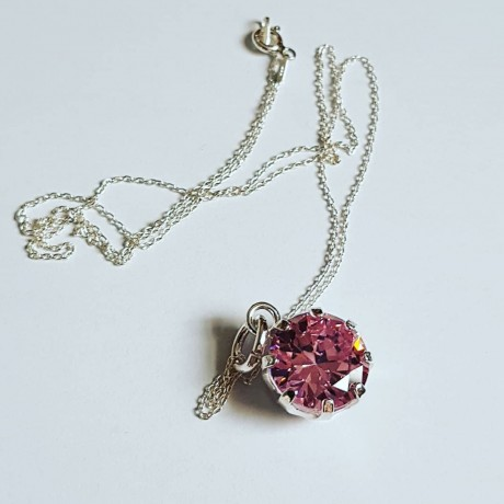 Sterling silver necklace Mad Pink, Bijuterii de argint lucrate manual, handmade